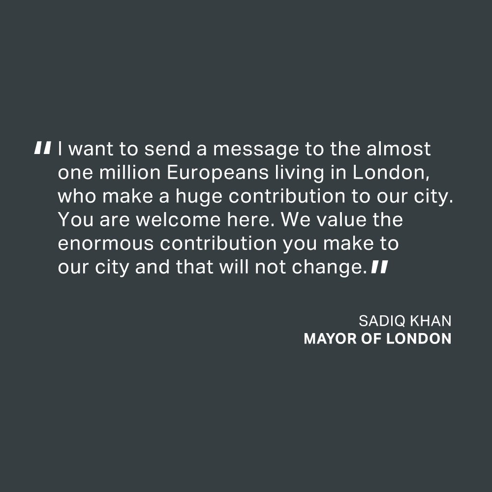 My message to the Europeans living in London - you are welcome here #LondonIsOpen https://t.co/gpTtSgYzIw