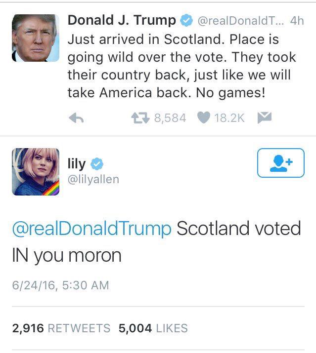 It's official. Donald #Trump has the IQ of a soggy Cheeto. #Brexit #imwithher https://t.co/3w2r4JlvYC