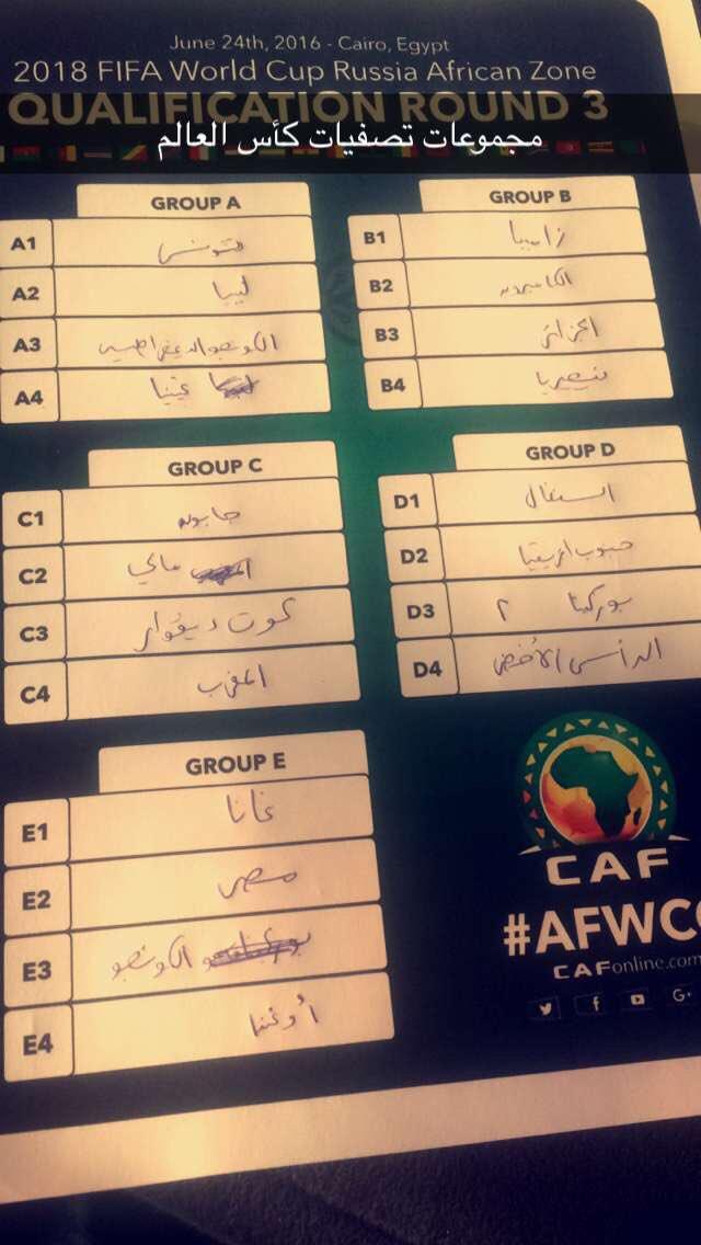 نتائج قرعة تصفيات إفريقيا لكأس العالم 2018 ClulLuQWIAESwln