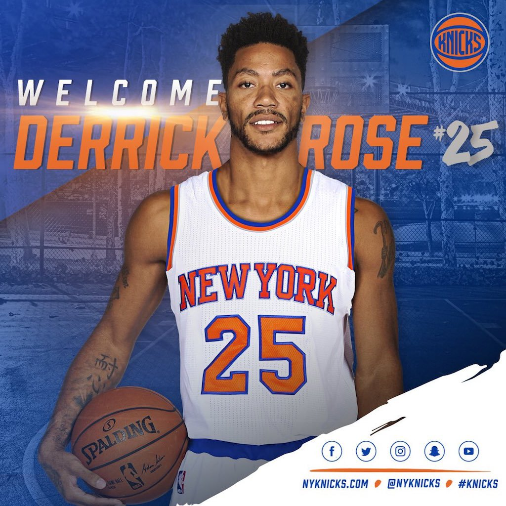 9f71763c0e03 Derrick rose is wearing no. 25 with the knicks to honor the late ben ...