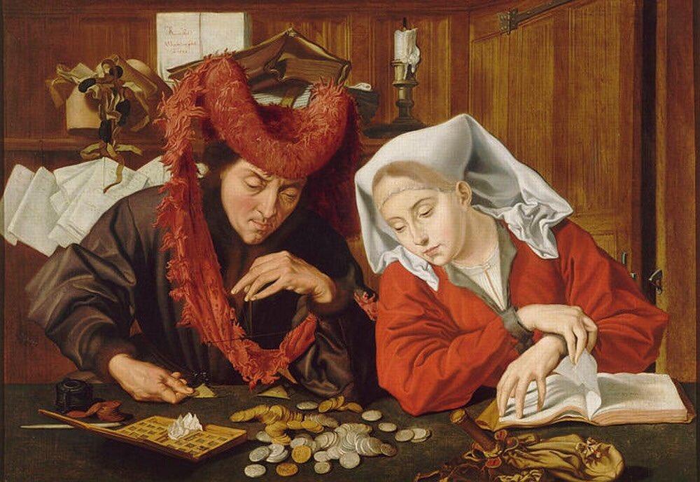 Ростовщик и его жена, 1514 г. худ. К. Мэтсис