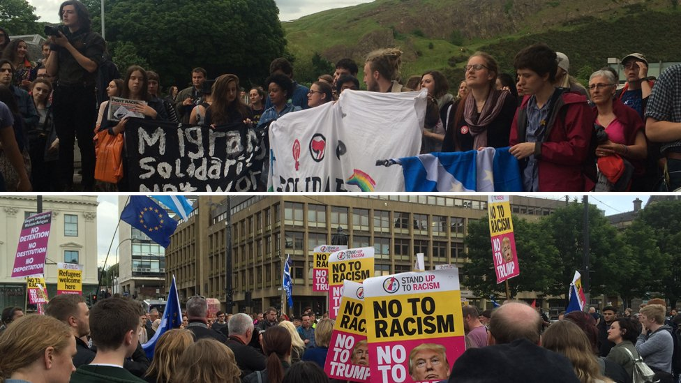 People gathered in Edinburgh and Glasgow to demonstrate against the referendum result and show support for migrants. https://t.co/ErT6DspNAv