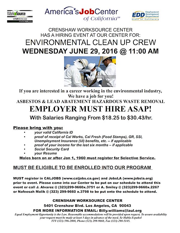 jan perry on twitter hiring event environmental clean up crew