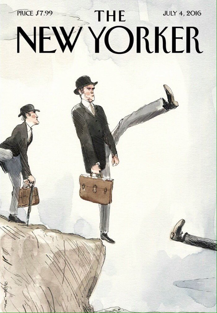 Today's cover of The New Yorker by Barry Blitt.  #Brexit #Bremain #BrexitVote #brefugeeswelcome https://t.co/LsXgVsXS6x
