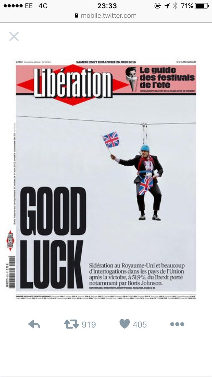 Brilliant front page from French newspaper Libération. Finding it cheering after a glance at all 'ours' https://t.co/l1LPOfDGdu