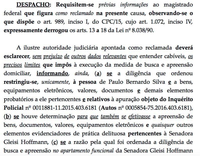 Após ação do Senado, Celso de Mello pede que juiz explique limites da busca e apreensão na casa de Gleisi/P.Bernardo