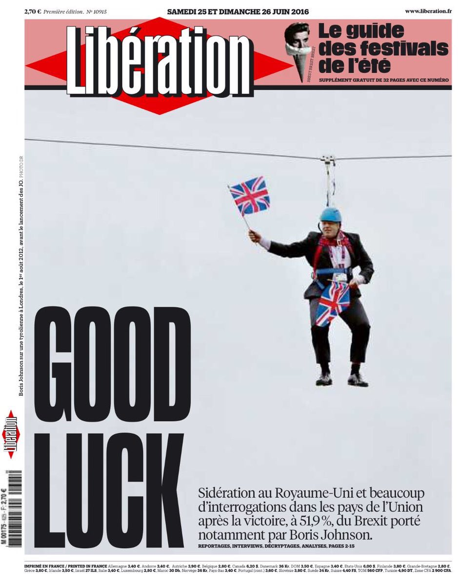 Britain today as seen on 2 great front covers: The Ministry of Silly Suicides & A Dangling Chump @NewYorker @libe https://t.co/YEgRSQCjry