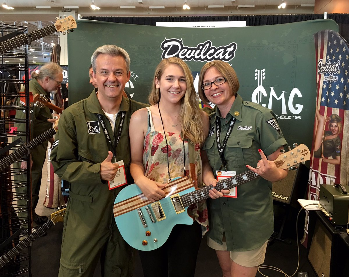 Chris, Ashlee & the fine folks at #CMGguitars are making a custom grey electric for me - SO EXCITED! @NAMMShow