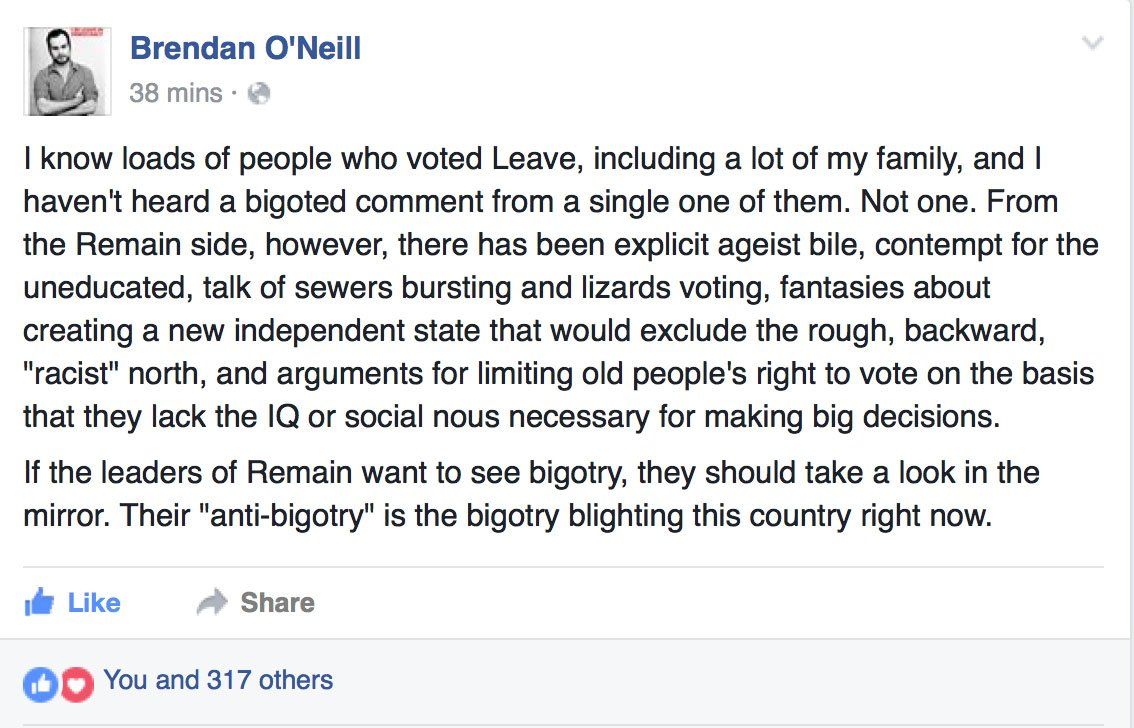 "#Brexit ""If the leaders of Remain want to see bigotry, they should take a look in the mirror.""—Brendan O'Neill. #UK https://t.co/Zrs4KKSsgN"
