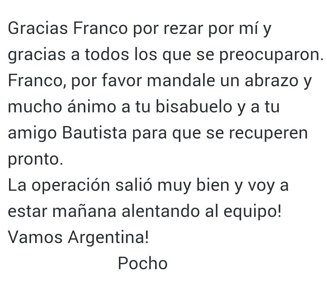Gracias Franco por rezar por mí y gracias a todos los que se preocuparon.