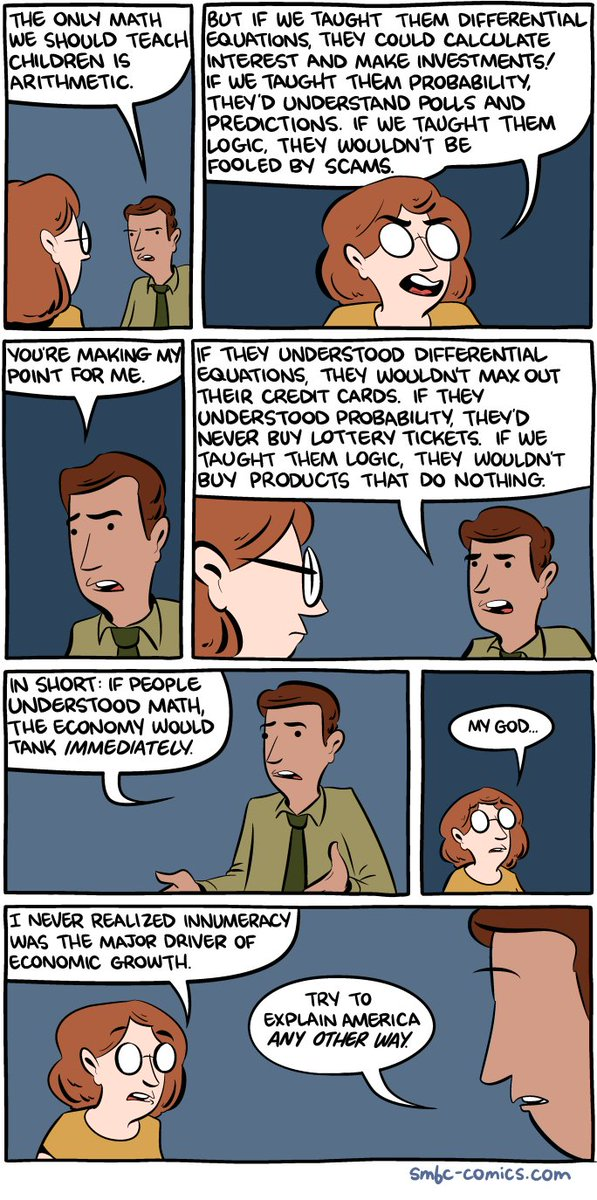 """If people understood math, the economy would tank immediately.""  Brilliant SMBC > https://t.co/o4nNuZHItV"