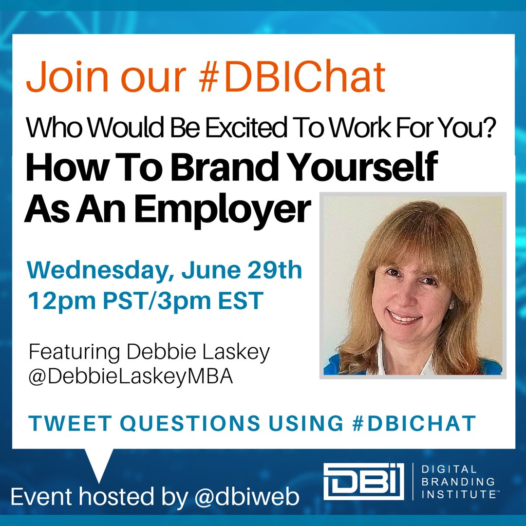Looking forward to chatting about #employerbranding on June 29. #DBIchat via @dbiweb https://t.co/5zRkDHGEA8