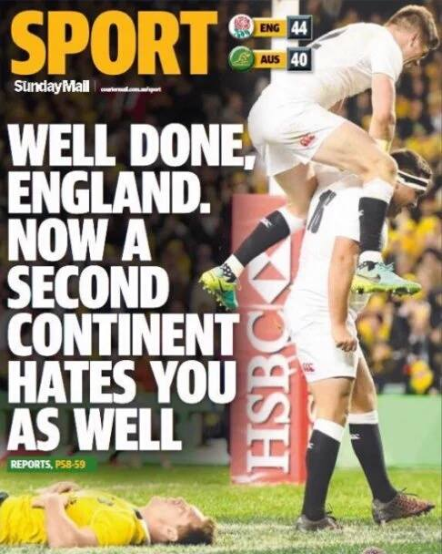 REACTION: The back page of the Sunday Mail in Queensland. #AUSvENG https://t.co/mRRY9nELk7