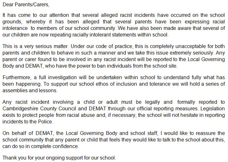 The full letter sent to parents and carers of pupils at Ely St Mary's C of E Junior School, after alleged racism: https://t.co/6uYxn59VR8