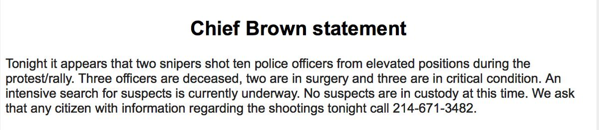 #BREAKING: 3 officers deceased.  10 shot according to DPD Chief Brown. Two snipers fired shots. https://t.co/fV8F80YrDc