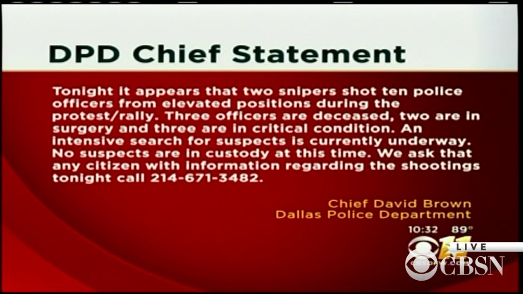 Statement from Dallas Police Chief Brown: 3 dead, 10 injured. Search continues for suspects. https://t.co/9jTcZqqOPe