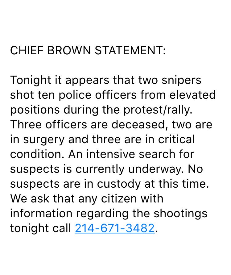 UPDATE: Statement from Chief Brown on downtown shooting..2 snipers shot 10 officers..3 officers deceased. @FOX4 https://t.co/Aaobqclwse