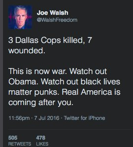 Former congressman Joe Walsh (@walshfreedom) has deleted this outrageously racist tweet threatening the president https://t.co/zgTnj40FOj
