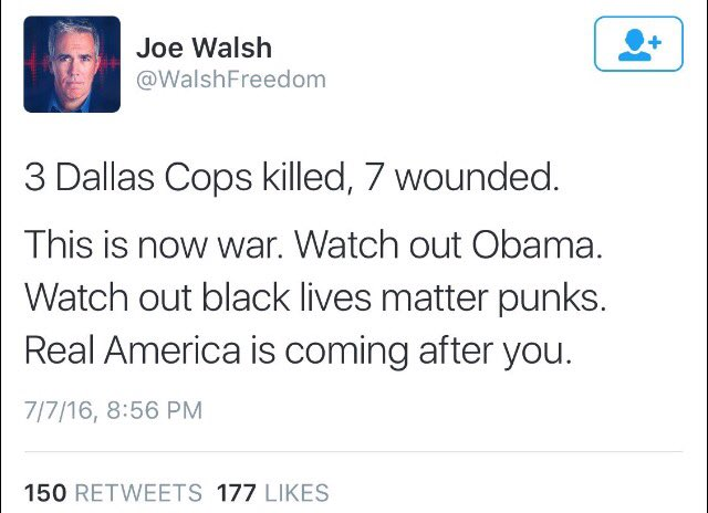 Former one-term Congressman Joe Walsh tonight.  He later deleted the 'This is now war. Watch out Obama' tweet. https://t.co/Yrg85NgB7a