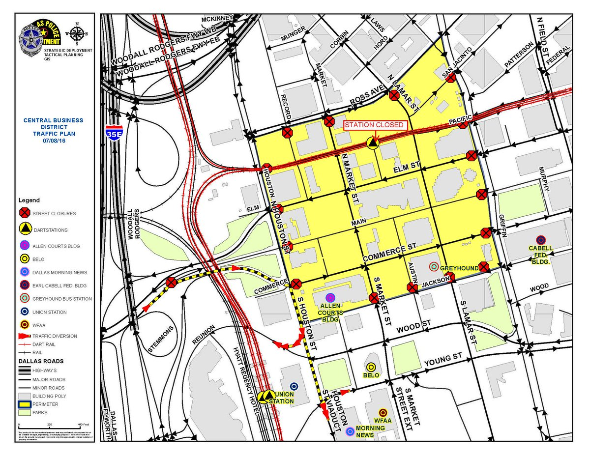 DOWNTOWN DALLAS CLOSURES: This map shows what roads and areas are blocked off or closed on Friday