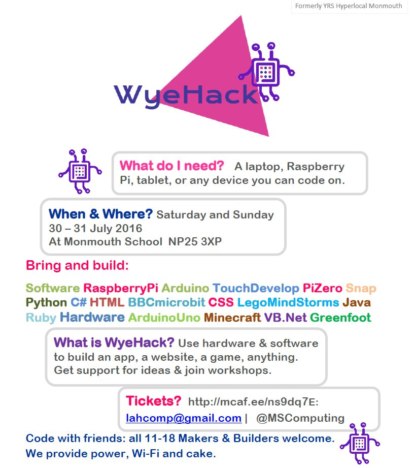 WyeHack: free coding weekend for 11-18s