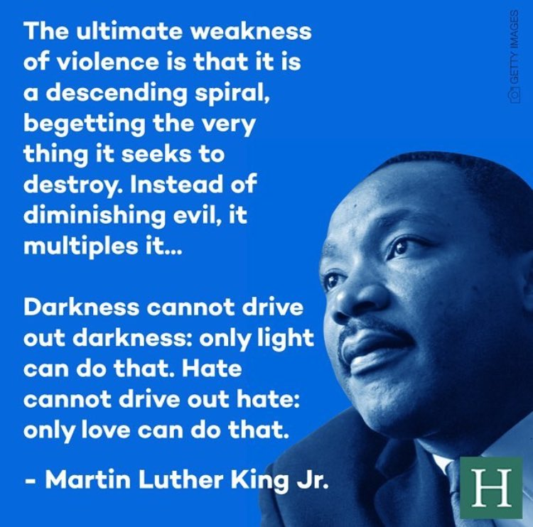 A timely and timeless reminder from Dr. Martin Luther King Jr. #PrayForHumanity #PrayForPeace #SpreadLove https://t.co/9YbCOK0b5I