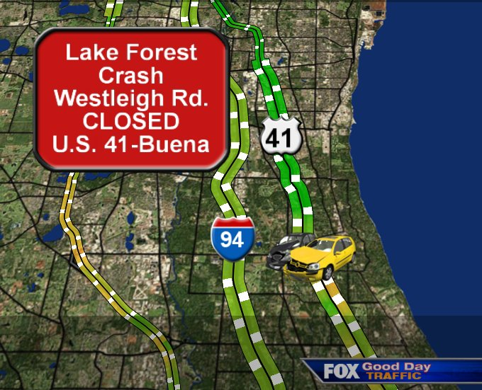 lakeforest: crash closes westleigh rd between us 41 & buena