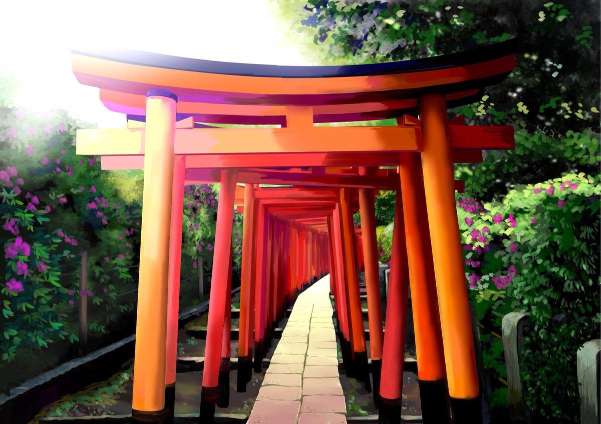"""みるみる on twitter: """"根津神社の鳥居。 行った時はつつじ祭り開催して"""