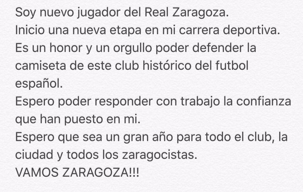 Un orgullo poder decir que soy jugador del @RealZaragoza https://t.co/P2hH7TTNQs