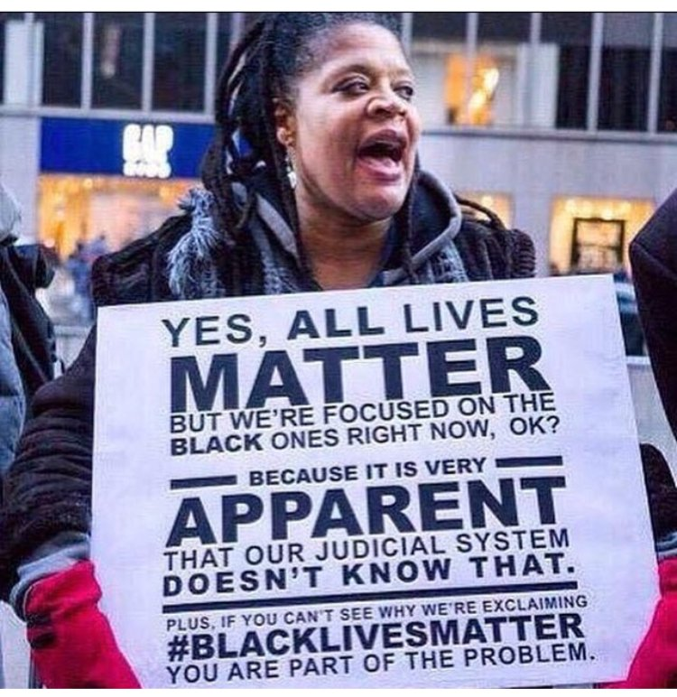 All lives matter but we are focused on the #BlackLivesMatter movement right now That part! https://t.co/NsCi2yaFjz