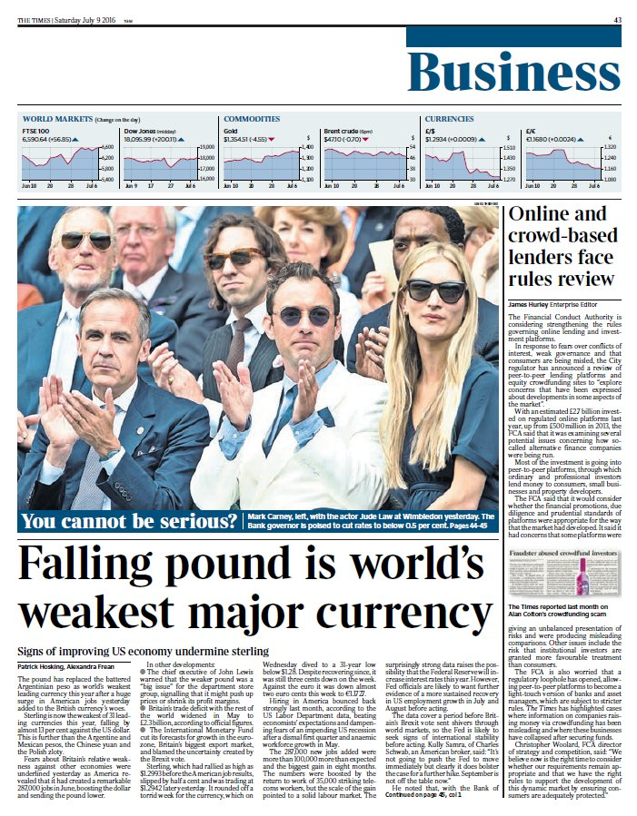 Tomorrow's @TimesBusiness front page: Falling pound is world's weakest major currency #tomorrowspaperstoday https://t.co/zm0fzAImjK