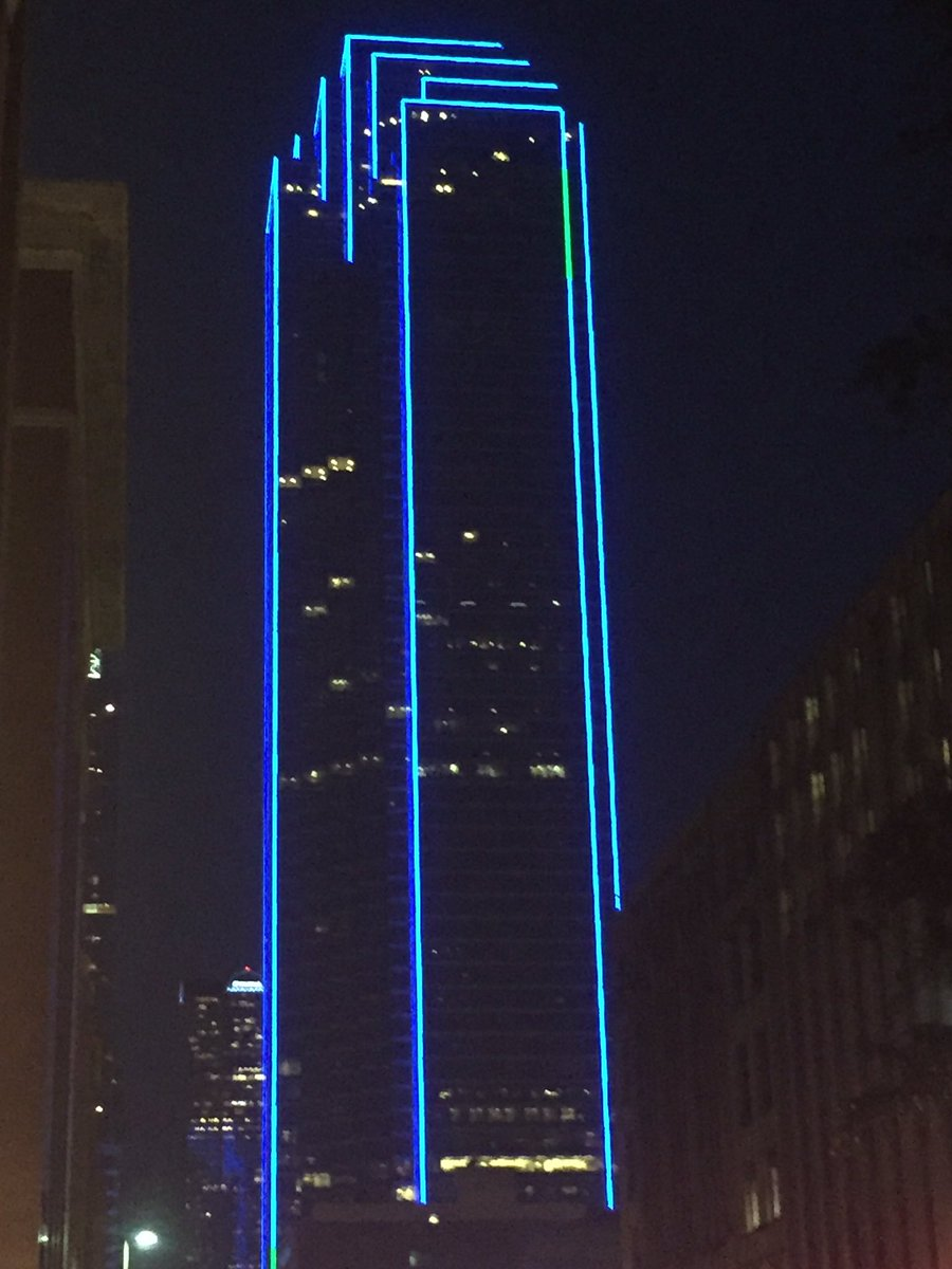 Dallas skyline is blue tonight. #Respect @FOX4 #BackTheBlue https://t.co/2UhjYyB15c