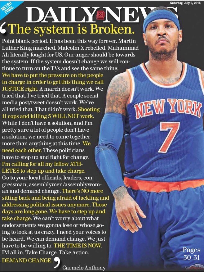 The @NYDailyNews with @carmeloanthony's powerful message. https://t.co/SQL0boEyif