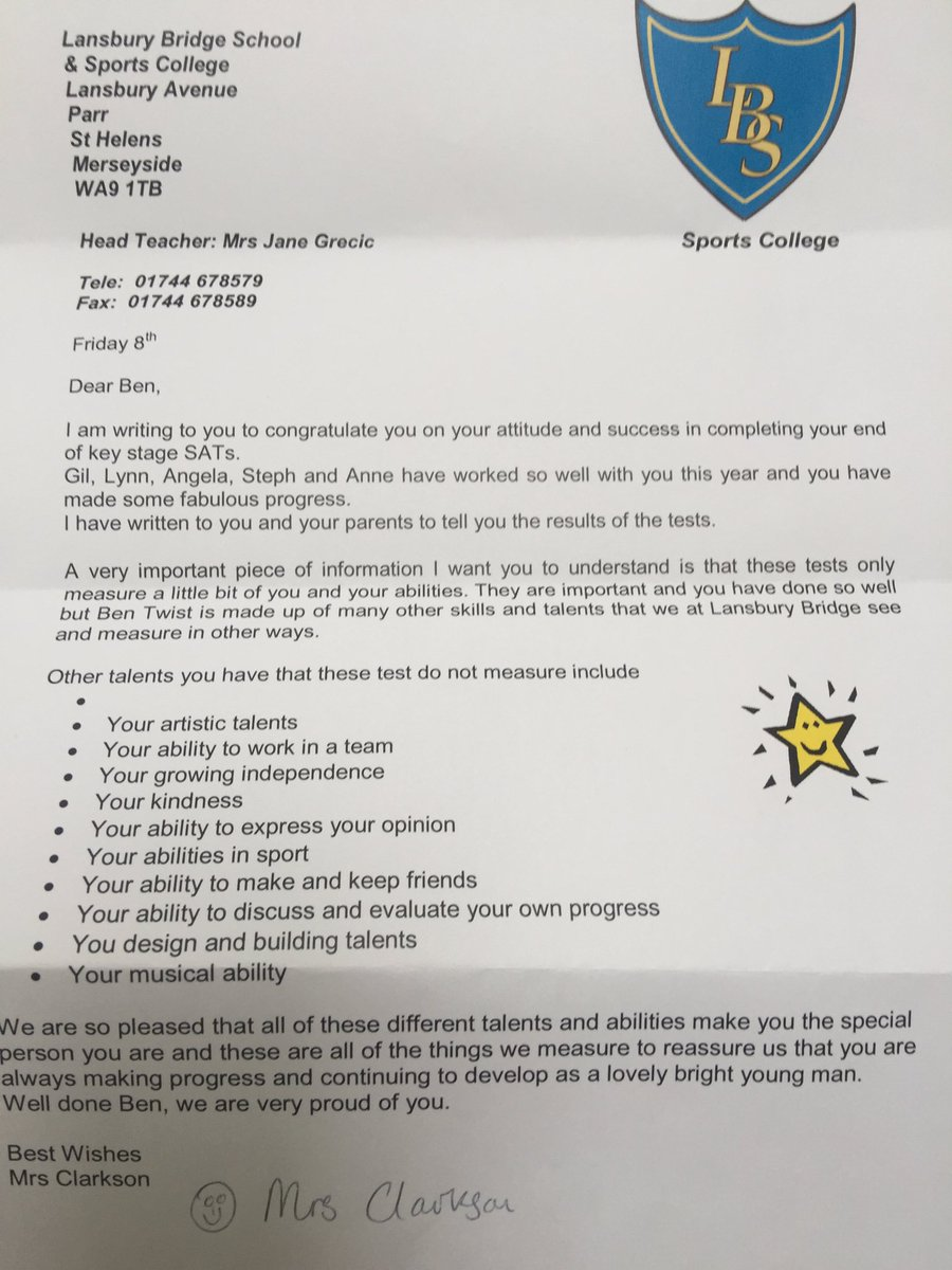 Teachers letter praises boy with autism for qualities not tested teachers letter praises boy with autism for qualities not tested in sats education the guardian expocarfo