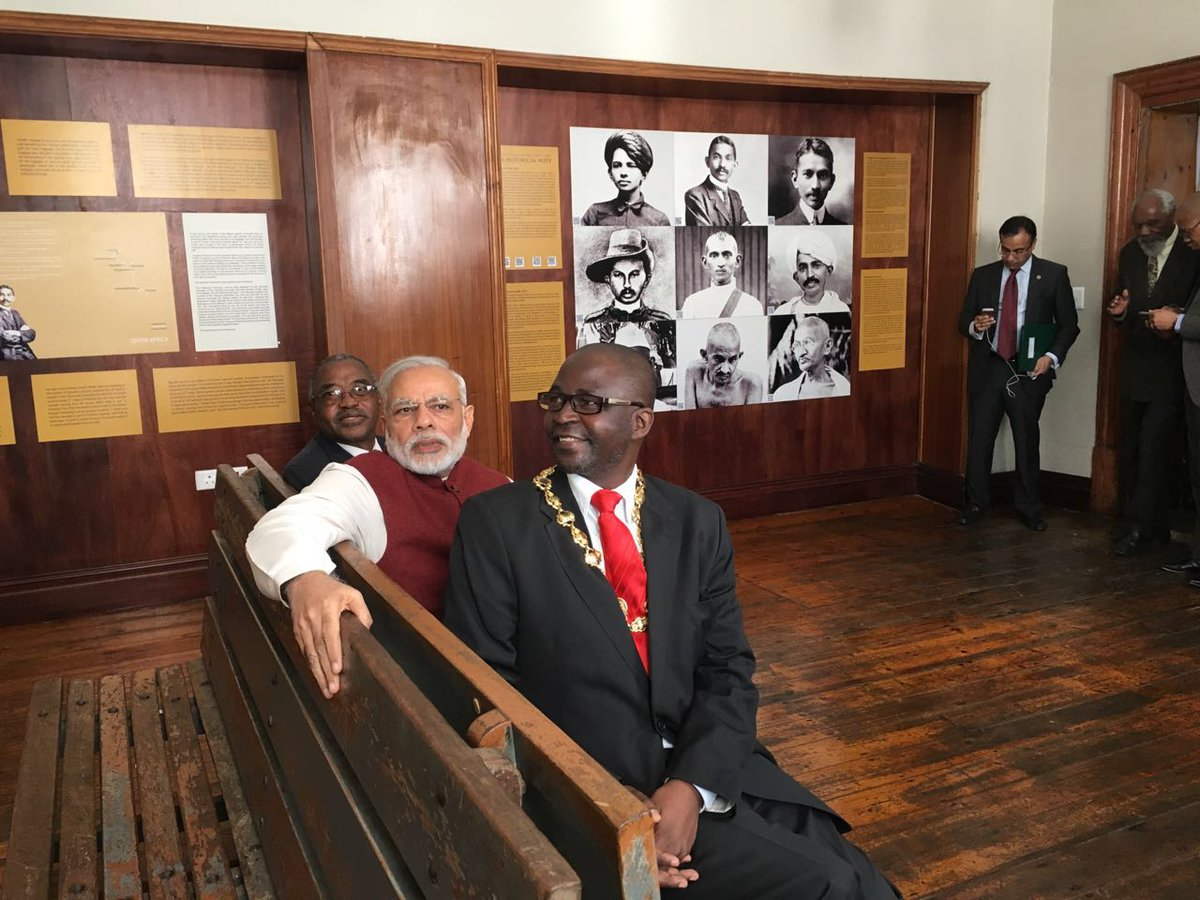 Narendra Modi retraces Mahatma Gandhi's train journey in South Africa