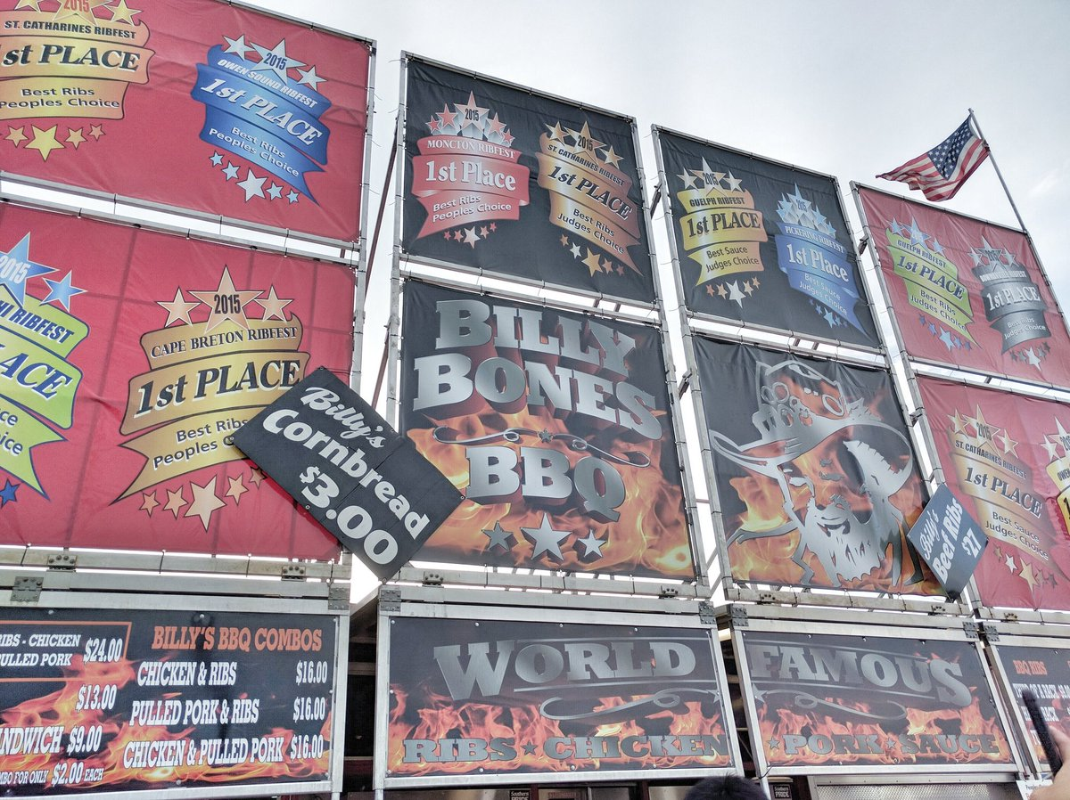 Signage of Billy Bones BBQ at Markham Ribfest 2016