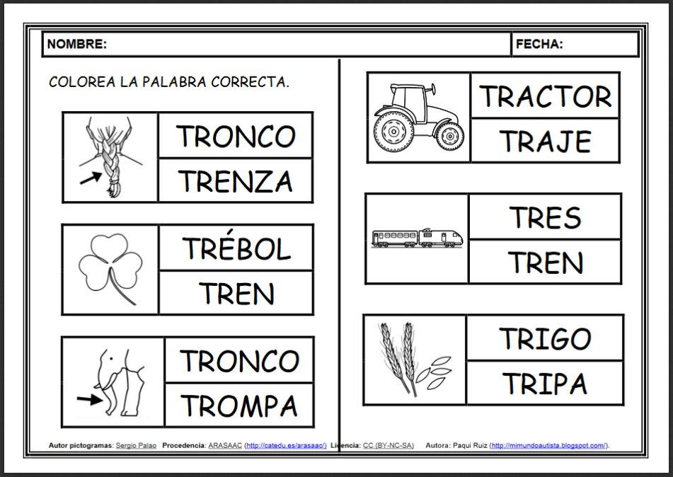 """Dibujos Con La Trabada Br: ARASAAC On Twitter: """"FICHAS DE LECTOESCRITURA Para"""