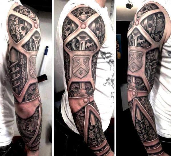 #Steampunk Awesome of the Day: Impressive Full Sleeve Clockwork Armor #Tattoo via @GeoffT83 #SamaTattoo