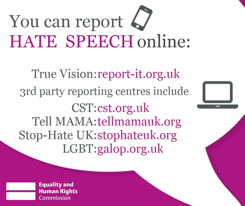 In England and Wales, you can report #hatespeech online here: https://t.co/SG78a8rbXH https://t.co/5WvY6ybGkS