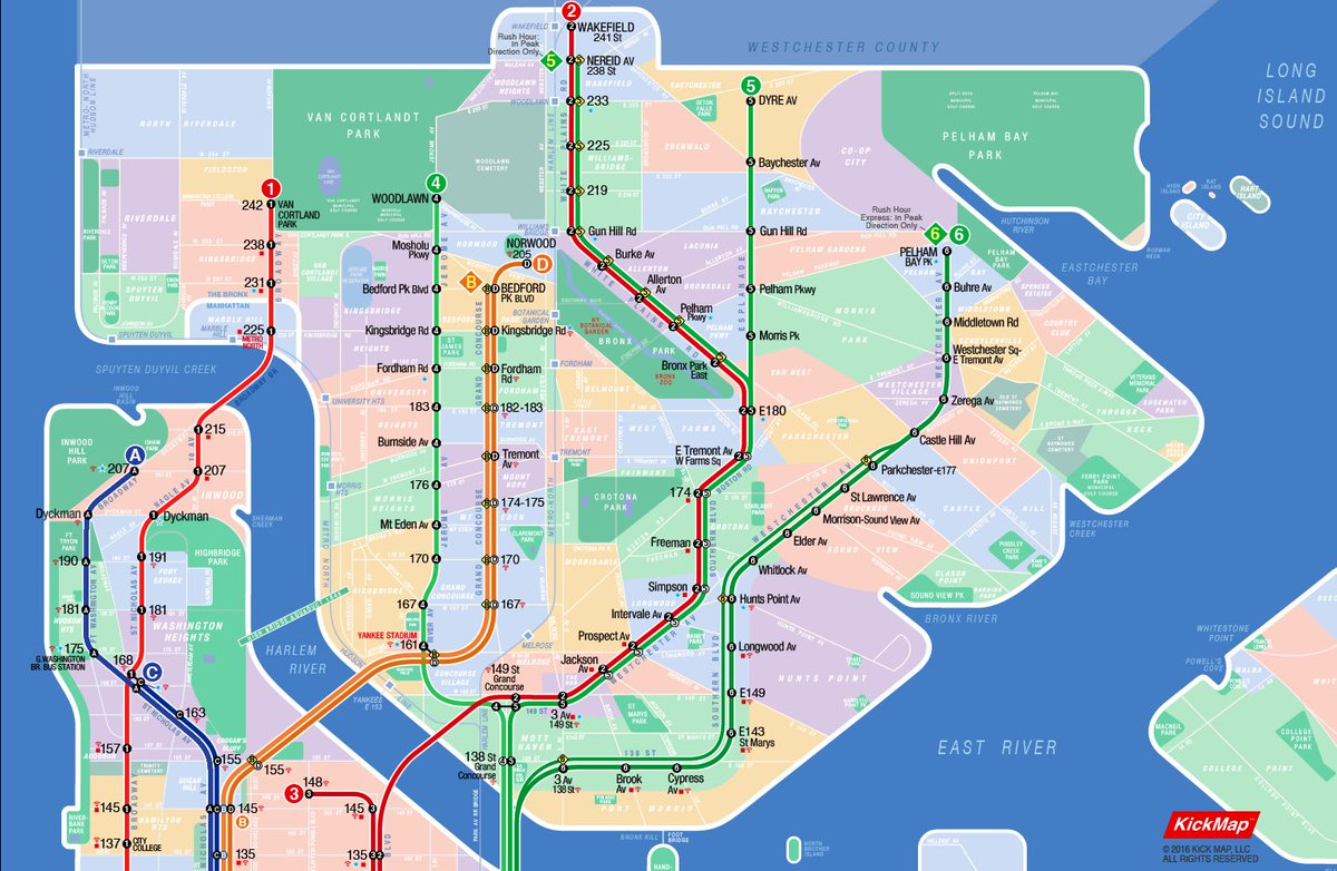 Nyc Neighborhood With Subway Map.Kickmap On Twitter Kickmap Diagram Showing Nyc Subway
