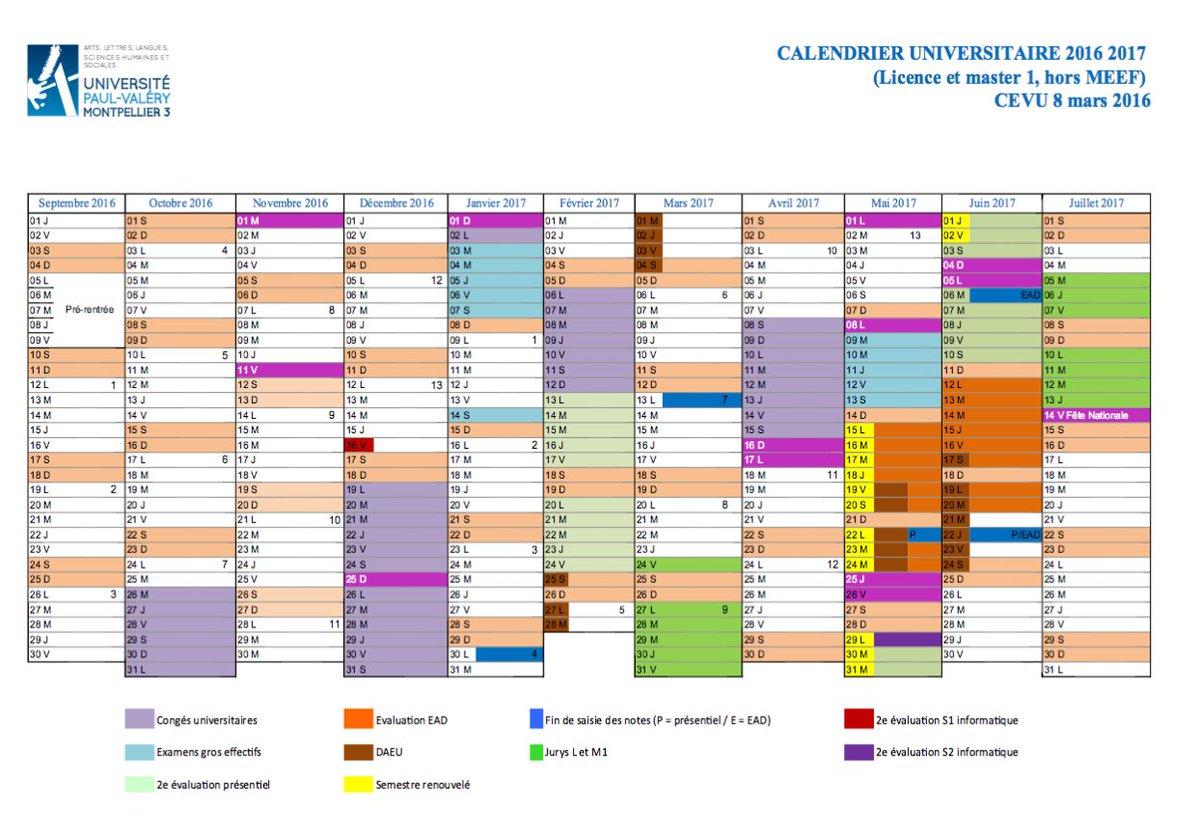 Calendrier Universitaire Lille 3 2019.Calendrier Vacances Universite Montpellier 3