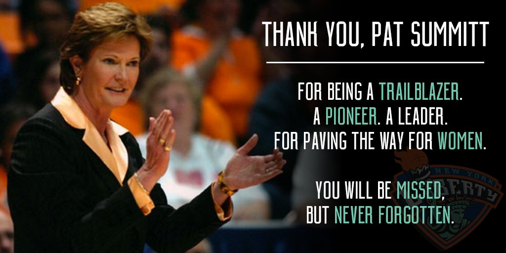Thank you, Pat Summitt. You will be missed, but never forgotten. Your impact for women is immeasurable. https://t.co/iDYX2ex7Xy