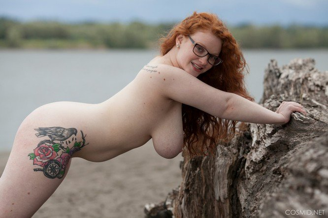 tits pale natural redhead Big
