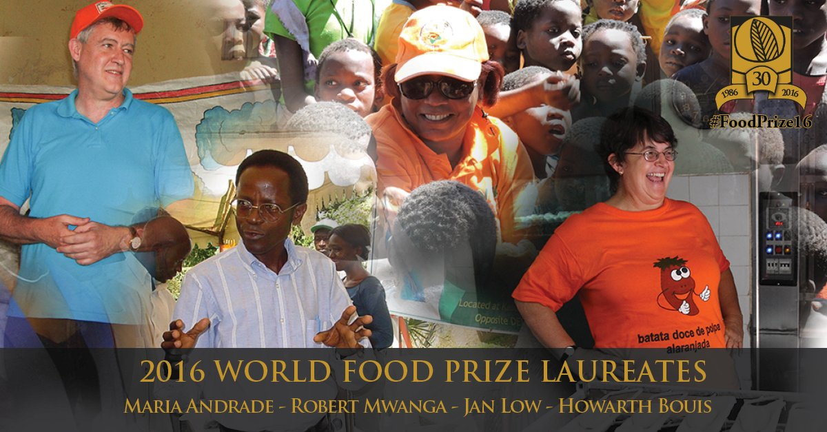 The 2016 World Food Prize Laureates are leaders in agriculture-based biofortification #FoodPrize16 #Biofortification https://t.co/RwgY5Oyt3G