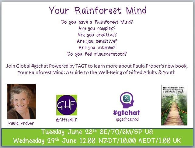 """T-10 till #gtchat - Today we'll be chatting about """"Your Rainforest Mind"""" with author Paula Prober https://t.co/m9HKEIZcqb"""