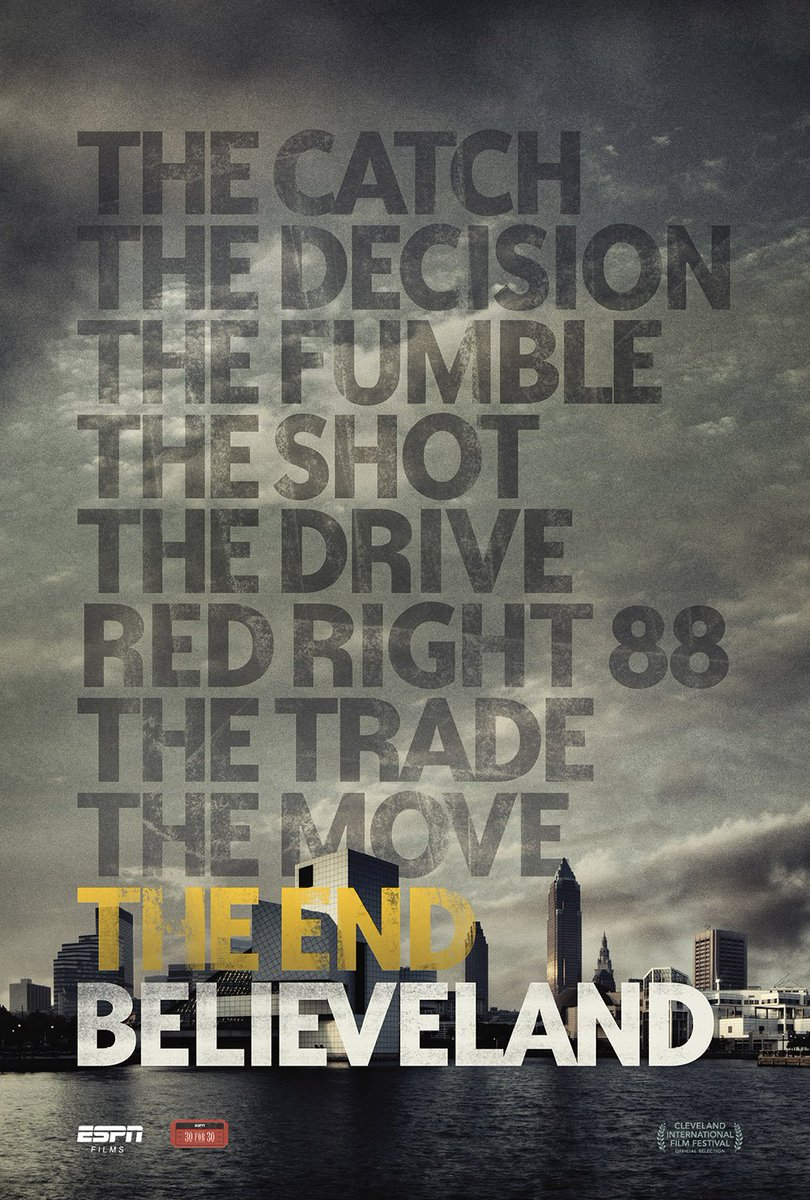 """The @cavs finals win = """"the end"""" to Cleveland's title drought.  Updated #Believeland airs Thursday at 8 ET on ESPN! https://t.co/0HEpFTJhAQ"""