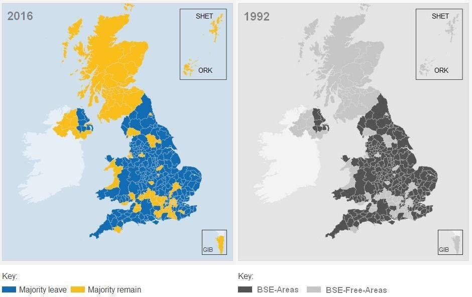 Is it relevant that Brexit vote correlates exactly to map of 1992 Mad Cow disease? https://t.co/iQfSBhsOjz