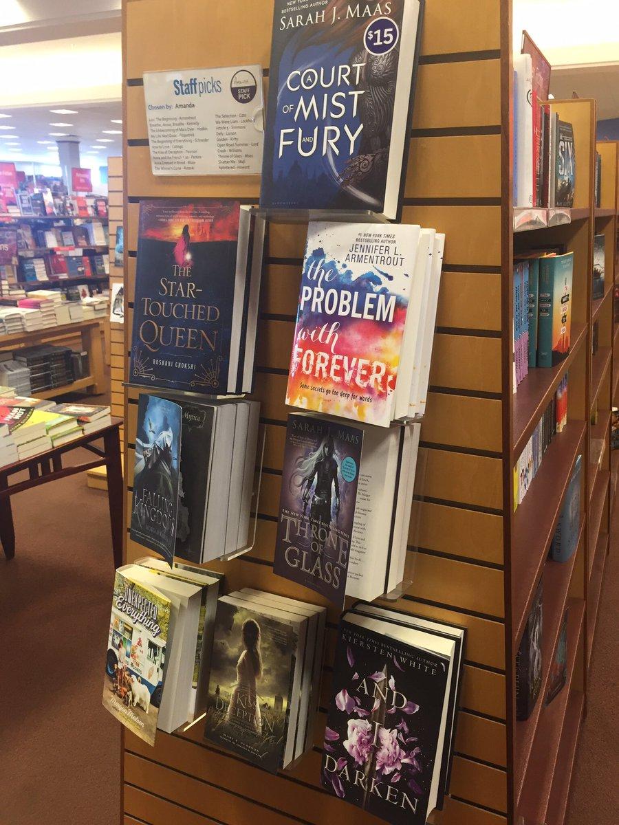 New books -staff pick wall @JLArmentrout @kierstenwhite @morgan_m @MorganRhodesYA @NotRashKnee @SJMaas @marypearson https://t.co/4gp6XTvOfw