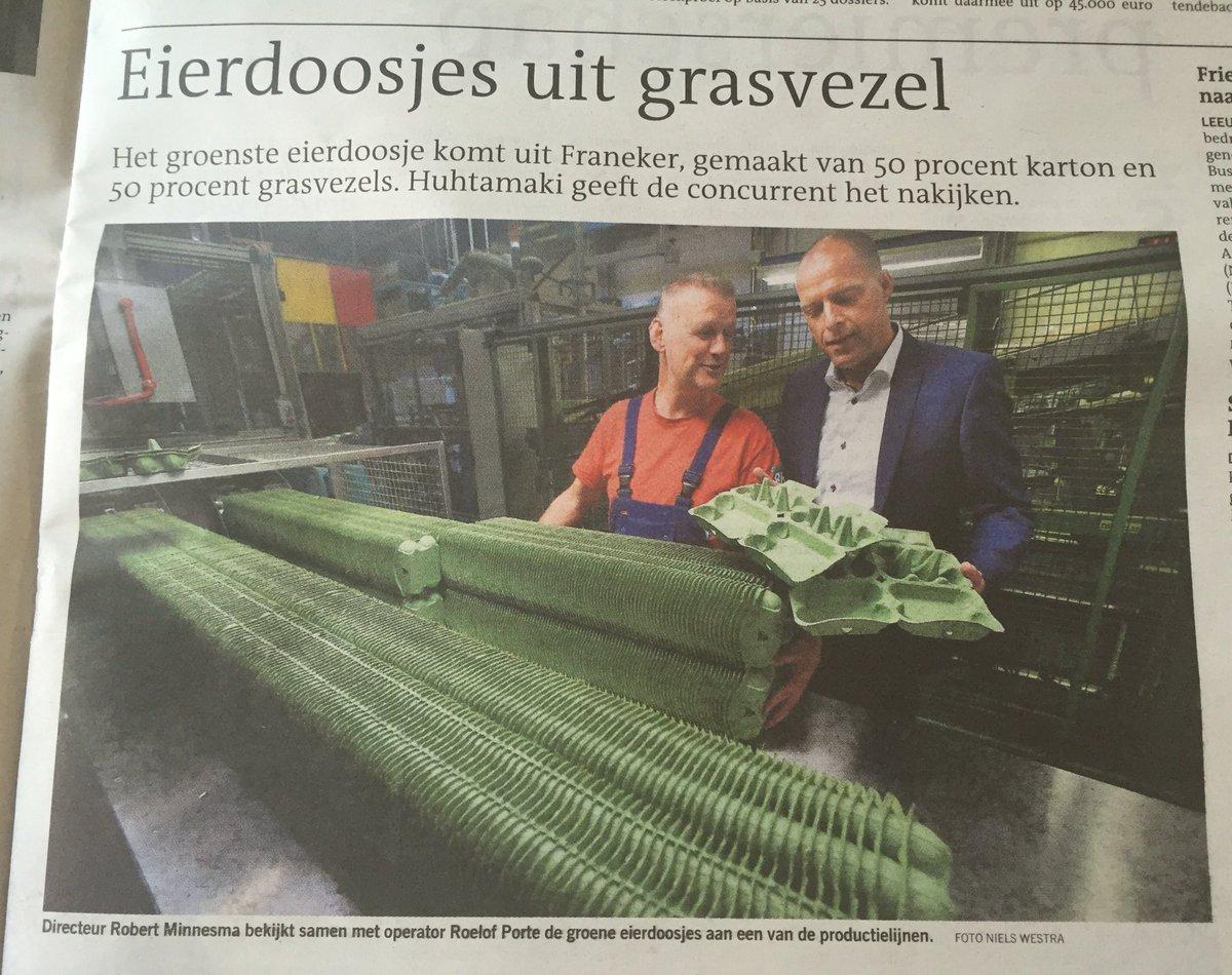 Circulaire economie in de Friese praktijk; groene eierdoosjes van gras. Concurrerend product, opbrengst naar natuur. https://t.co/jHnBx1XQpk
