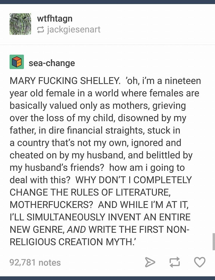 Mary Shelley is one of my literary heroes. FRANKENSTEIN is my favorite novel ever. And this little rant sums up why. https://t.co/fVstpcQz0x